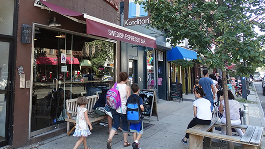 Located in the heart of Park Slope Brooklyn on 5th Ave right  next to Sackett/Berkeley Pl. Street